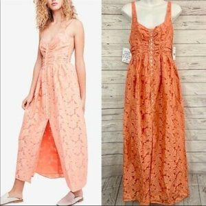 Free People Fresh as a Daisy Coral Maxi Dress Sz10